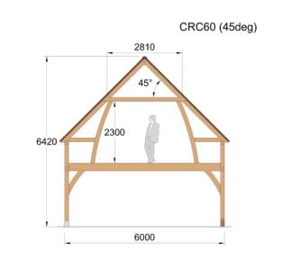 Cross Section - CRC60 (45deg) Oak framed Building / garage / 2 story / roof space timber wood