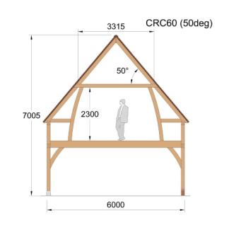 Cross Section - CRC60 (50deg) Oak framed Building / garage / 2 story / roof space timber wood