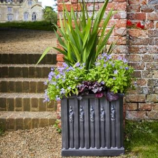 Faux Lead Clayfibre Garden Planters; Ornate Box in association with English Heritage
