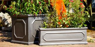 Faux Lead Clayfibre Garden Planters, Chelsea design; Box & Trough