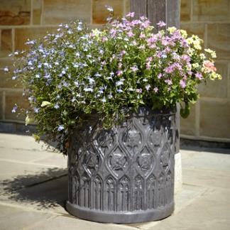Faux Lead Clayfibre Garden Planters; Mayfield Cylinder