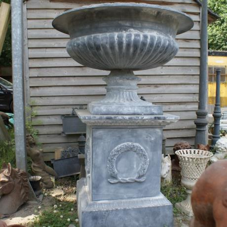 Faux Lead Cast Iron Mega Shallow Garden Urn Planter on Plinth