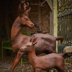 Frolicking Stag & Calf Statue