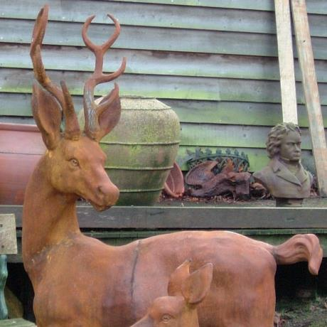 Cast Iron Frolicking Stag & Calf Animal Garden Statues Features Sculptures