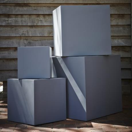 Grey Fibrestone Contemporary Square Box Garden Planters