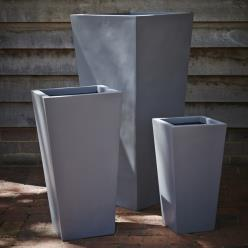 Grey Fibrestone Contemporary Flared Planter