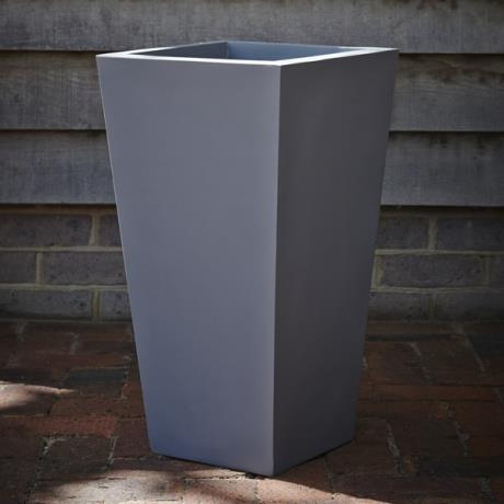 Grey Fibrestone Contemporary Flared Tapered Square Garden Planter