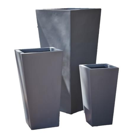 Grey Fibrestone Contemporary Flared Tapered Square Garden Planters