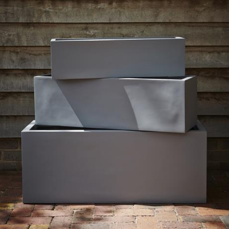 Grey Fibrestone Contemporary Rectangular Trough Garden Planters