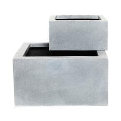 Grey Polystone Low Cubic Planter