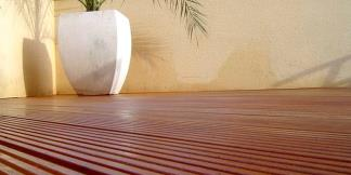 Grooved Balau Decking on Rooftop Deck.