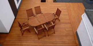 Heveatech Decking and complimenting table and chairs
