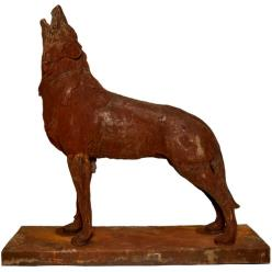 Howling Wolf on Plinth Statue