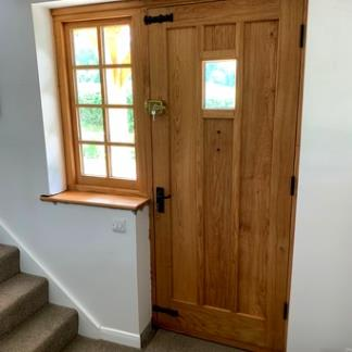 Oak Front Door with Vision Panel & Solid Oak Side Light