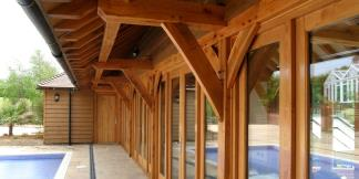 External Pool House Oak Support Beams