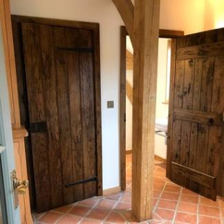 Solid Oak Farmhouse Doors with Antiqued Finish
