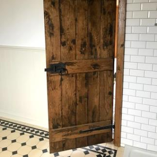 Solid Oak Farmhouse Door with Antiqued Finish