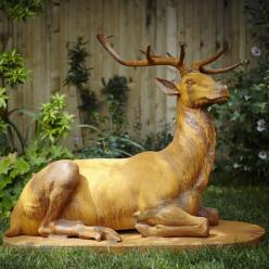 *OUT OF STOCK* Kneeling Stag Statue (Rust or Bronze)