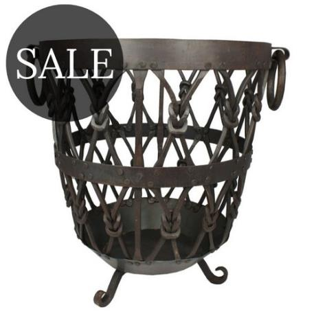 Wrought Iron Knotted Log Basket Wood Store Brazier