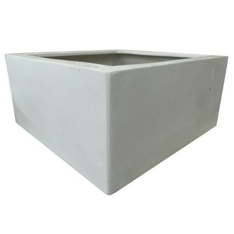 Marble White Polystone Low Cubic Garden Planter
