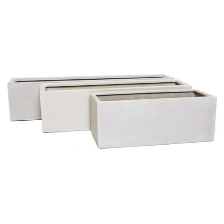 Marble White Polystone Small Rectangular Trough Window Box Garden Planter