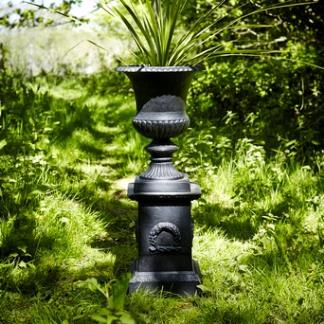 Metal Garden Planters; Black Cast Iron Smooth Urn on Plinth