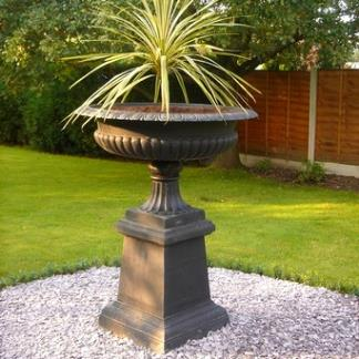 Metal Garden Planters; Black Cast Iron Giant Shallow Urn on Plinth