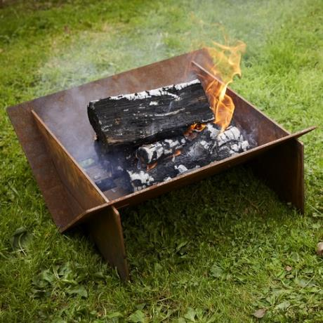 Minima Flat Pack Corten Steel Fire Pit Bonfire Burner Outdoor Heater