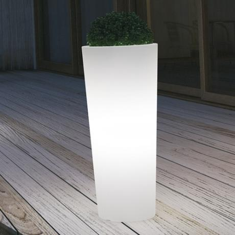 Neutral White Fiori Round Cono Luminous Garden Outdoor/Indoor Planter