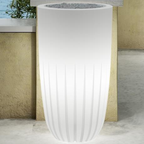 Neutral White Fiori Round Valentino Luminous Garden Outdoor/Indoor Planter