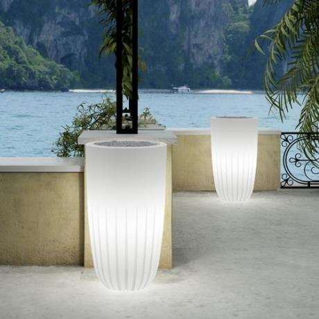 Neutral White Fiori Round Valentino Luminous Garden Outdoor/Indoor Planters