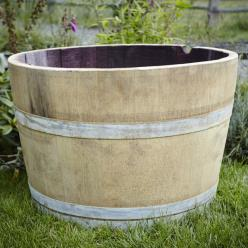 *OUT OF STOCK* Oak Wine Half Barrel Planter