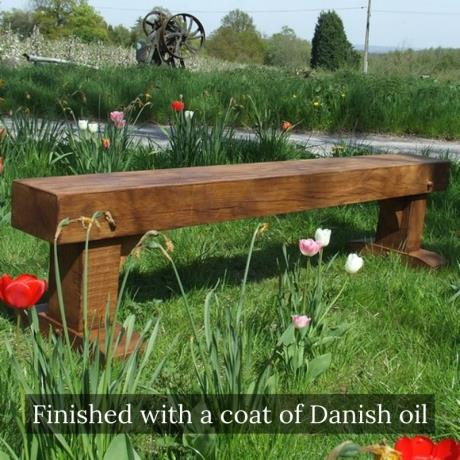 Solid Oak Sleeper Bench Seat Garden Furniture (finished with a coat of Danish oil)