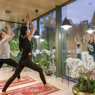 ÖÖD Houses & Rooms can provide an open yet private space to get in touch with nature during your daily Yoga routine.