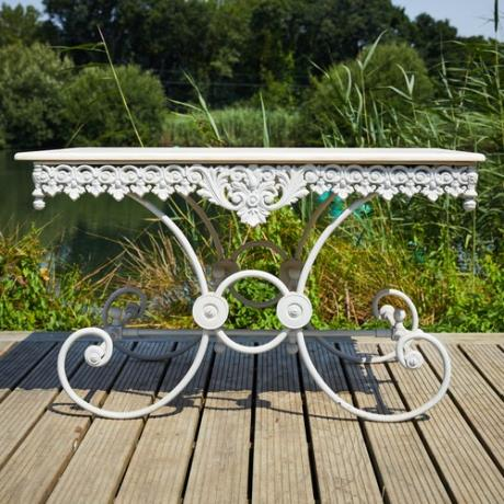 Ornate Marble Top Butcher Table Garden Furniture