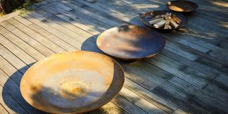 Outdoor Garden Burners; Curved Corten Steel Firepits