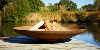 Outdoor Garden Burners; Curved Corten Steel Firepit