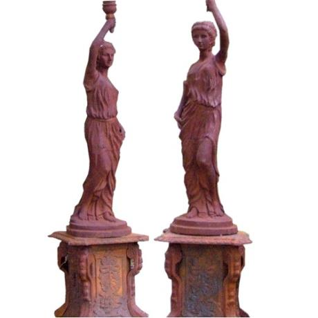 Pair of Cast Iron Lantern Lady Portrait Garden Statues Features Sculptures