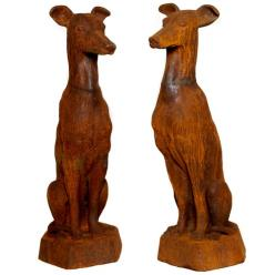 Pair of Sitting Whippet Statues