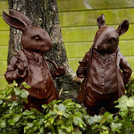 Pair of Cast Iron Woodland Creature Animal Garden Statues Features Sculptures