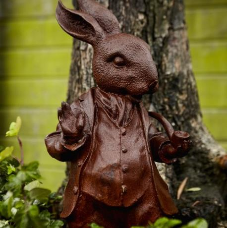 Mr. Rabbit | Pair of Cast Iron Woodland Creature Animal Garden Statues Features Sculptures