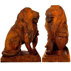 Pair of Proud Lion Statues