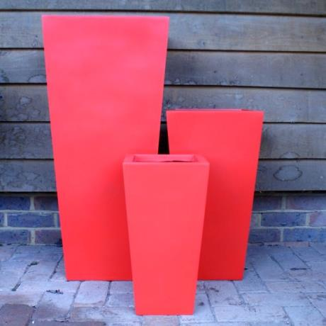 Red Fibrestone Contemporary Flared Tapered Square Garden Planters
