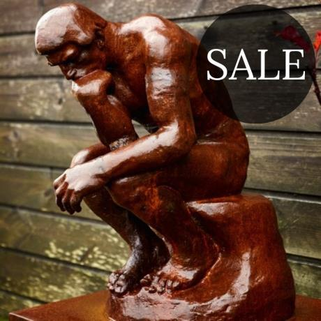 Cast Iron Rodins Thinker Garden Statue Feature Sculpture