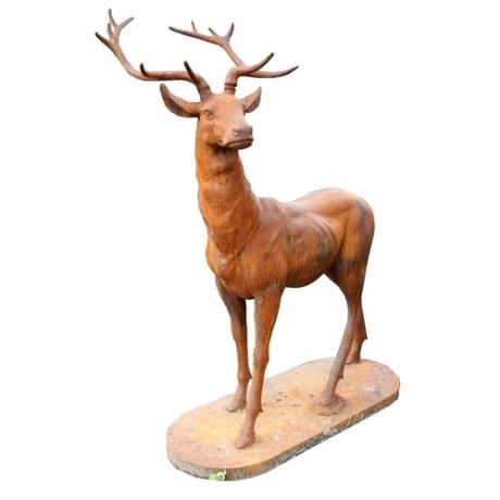 Cast Iron Rust Standing Majestic Stag Animal Garden Statue Feature Sculpture