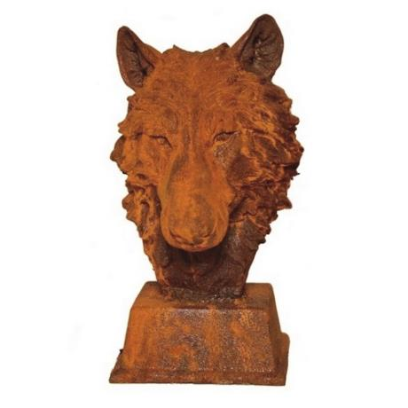 Cast Iron Wolf Head Dog Animal Garden Bust Statue Feature Sculpture
