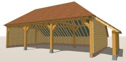 RW3HL Oak Framed Garage - Hip Roof & Log Store