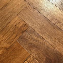Vintage Collection-Scalloped & Smoked Herringbone Oak Parquet Flooring