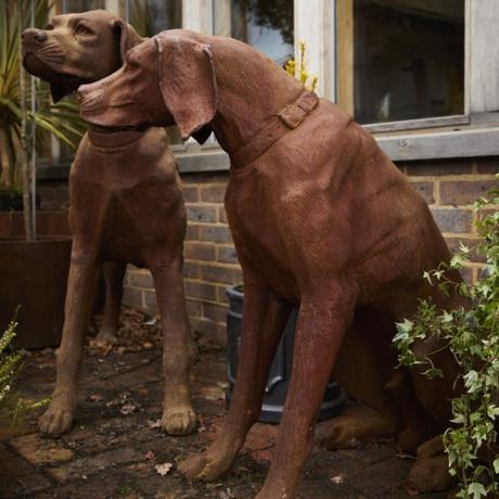 Cast Iron Sitting & Standing Rhodesian Ridgeback Dog Animal Garden Statues Features Sculptures