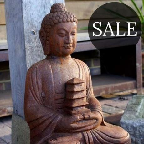 *SALE* Cast Iron Smiling Buddha Garden Statue Feature Sculpture